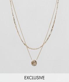 Золотистое многоярусное ожерелье с подвеской-медальоном Chained & Able эксклюзивно для ASOS - Золотой
