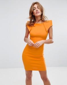 Платье-футляр со складками-оригами на плечах Vesper - Оранжевый