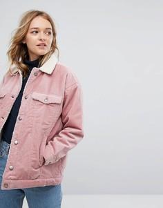Вельветовая куртка Monki - Розовый