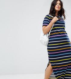 Платье-футболка макси в разноцветную полоску ASOS CURVE - Мульти