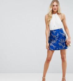 Жаккардовая юбка мини с запахом ASOS TALL - Мульти