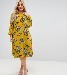 Атласное платье-футляр миди с цветочным принтом ASOS CURVE - Мульти
