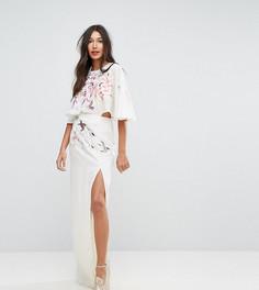 Платье макси с вышивкой ASOS TALL - Мульти