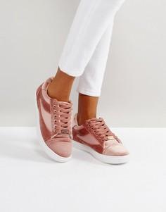 Светло-розовые бархатные кроссовки Head Over Heels by Dune - Розовый