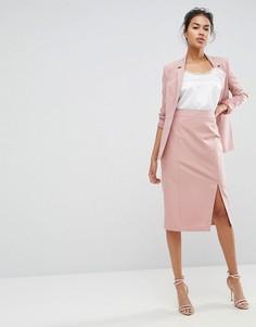 Комбинируемая юбка-карандаш с завышенной талией и разрезом сбоку ASOS - Розовый