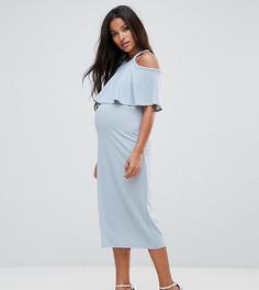 Двухслойное приталенное платье миди Bluebelle Maternity - Синий
