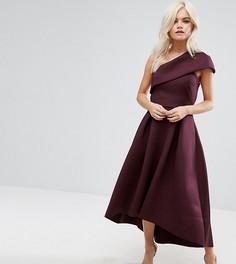Приталенное платье миди на одно плечо ASOS PETITE - Красный