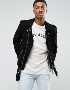 Замшевая байкерская куртка с ремешком Selected Homme - Черный