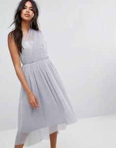 Платье миди для выпускного из тюля ASOS PREMIUM - Серый