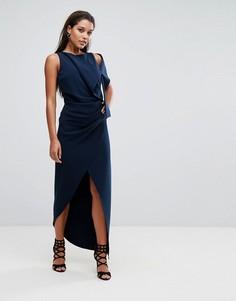 Платье макси с отделкой на плечах AQ/AQ - Темно-синий