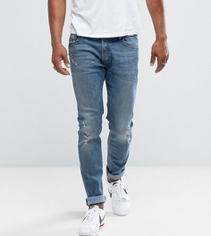 Светлые зауженные джинсы Diesel Sleenker 84KJ Abraisions - Синий