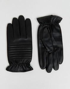 Черные кожаные байкерские перчатки Barneys - Черный Barneys Originals