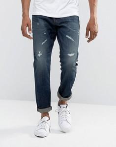 Темно-выбеленные суженные книзу джинсы G-Star 3301 - Синий
