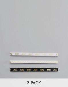 3 повязки на голову с оттенком металлик Nike - Золотой