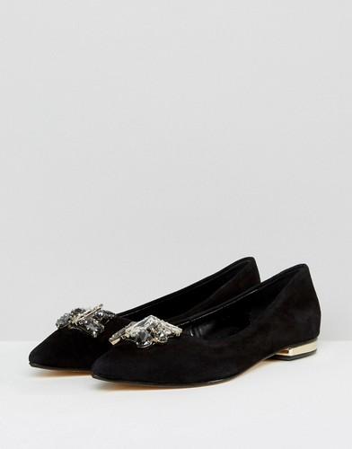 Замшевые туфли с камнями на плоской подошве Dune - Черный