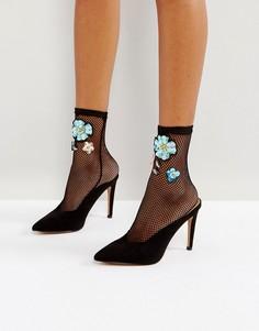 Декорированные сетчатые носки ASOS - Черный