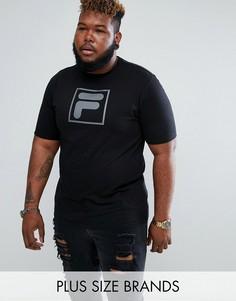 Черная футболка с большим логотипом Fila Black PLUS - Черный