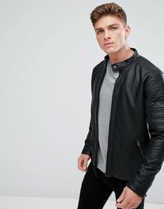 Черная байкерская куртка из искусственной кожи Hollister - Черный