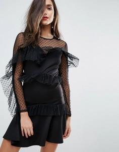 Короткое приталенное платье с ярусными оборками и отделкой добби ASOS - Черный