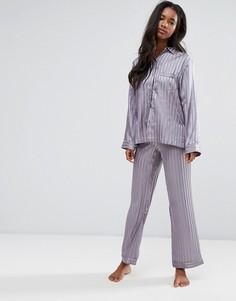 Атласный пижамный комплект с рубашкой и штанами в полоску Boux Avenue - Темно-синий