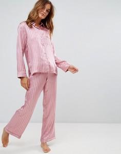 Атласный пижамный комплект с рубашкой и штанами в полоску Boux Avenue - Розовый