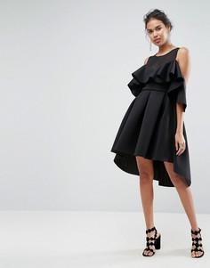 Платье для выпускного с сетчатым верхом ASOS - Черный