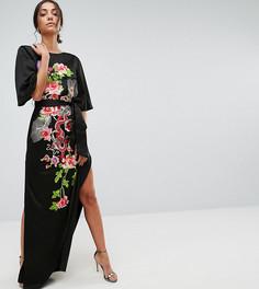 Платье макси с вышивкой дракона ASOS TALL - Мульти