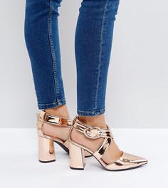 Золотисто-розовые туфли на каблуке с перекрестными ремешками The March - Золотой