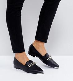 Черные туфли на плоской подошве с отделкой The March - Черный