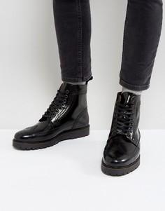 Черные кожаные ботинки-криперы средней высоты Fred Perry X George Cox - Черный