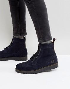 Замшевые темно-синие ботинки Fred Perry - Темно-синий