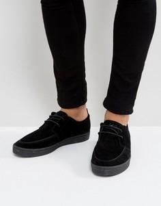 Черные замшевые кроссовки на крепированной подошве Fred Perry Shields - Черный