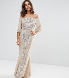 Платье-бандо макси с рукавами клеш и отделкой Maya Petite - Розовый