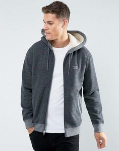 Серый меланжевый худи на молнии с подкладкой из искусственного меха Abercrombie & Fitch - Серый