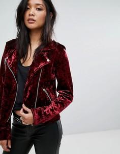 Бархатная байкерская куртка Blank NYC - Красный