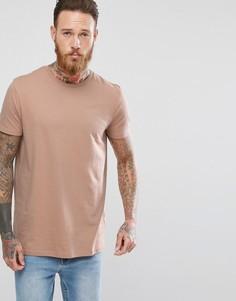 Длинная бежевая футболка ASOS - Бежевый