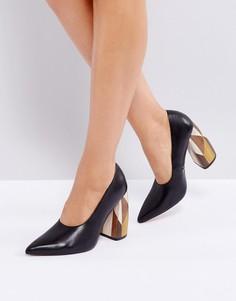 Кожаные премиум-туфли на высоком каблуке ASOS WHITE PEONY - Черный