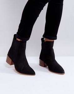 Нубуковые ботинки челси на каблуке Dune - Черный