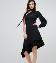 Платье миди с одним рукавом и завязкой на шее ASOS TALL - Черный