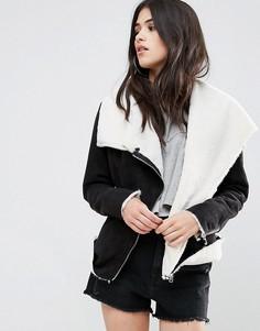 Куртка с искусственным мехом и каскадной драпировкой Missguided - Черный