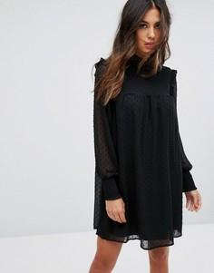 Платье А-силуэта с сетчатой накладкой QED London - Черный
