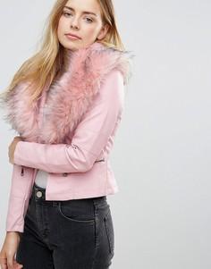 Куртка с воротником из искусственного меха QED London - Розовый