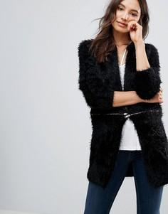 Пушистое пальто-кардиган QED London - Черный