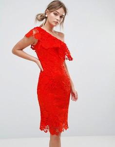 Платье из кроше на одно плечо Paper Dolls - Красный