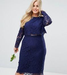 Кружевное платье-футляр миди с длинными рукавами ASOS CURVE WEDDING - Темно-синий