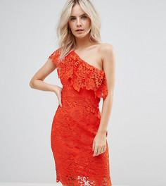 Платье из кроше на одно плечо Paper Dolls Petite - Красный