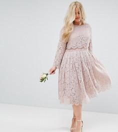 Кружевное платье миди для выпускного с длинными рукавами ASOS CURVE WEDDING - Розовый