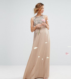 Платье макси с плиссированной юбкой и декорированным лифом Maya Maternity - Розовый