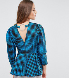 Клетчатая блузка с баской эксклюзивно для ASOS TALL - Мульти