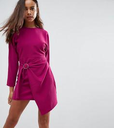 Платье миди с рукавами летучая мышь и запахом на юбке ASOS PETITE - Фиолетовый